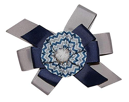 WD2U Girls Deluxe Navy & Silver Chevron Football Colors Hair Bow Alligator Clip