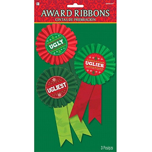 Prizes For Ugly Sweater Contest (amscan Ugly Ribbon Awards, 3 Ct. | Christmas)