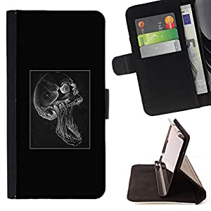 KingStore / Leather Etui en cuir / Sony Xperia Z2 D6502 / Cráneo gótico Scream