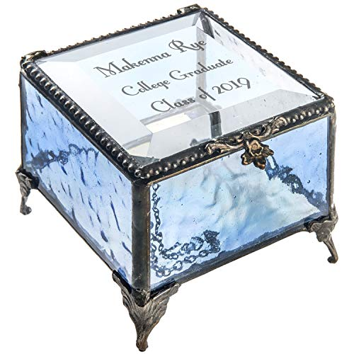 Personalized Graduation Gift for Her Blue Glass Jewelry Box Engraved Keepsake for High School Graduate Or College Grad Class of 2019 Daughter, Granddaughter, Girl, Friend J Devlin Box 837 EB217-3