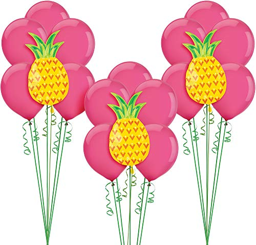 (Party City Aloha Hawaiian Balloon Supplies, Include Pink Latex Balloons, Pineapple Balloons, Weights, and Curling Ribbon )