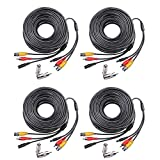 Masione 4 PACK 100ft Feet Video Audio Power BNC security camera extention Cable for CCTV Security Surveillance system with 2 RCA Male to BNC Female Connectors