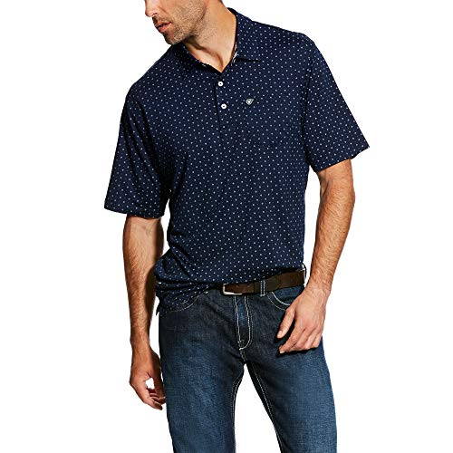 (ARIAT Men's Spry Polo Navy Print Size Large)