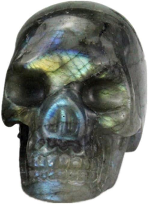 AITELEI Figura de calavera tallada a mano con piedra preciosa de 5 cm, piedra de cristal curativa, diseño de calavera reiki, Labradorita, Labradorite