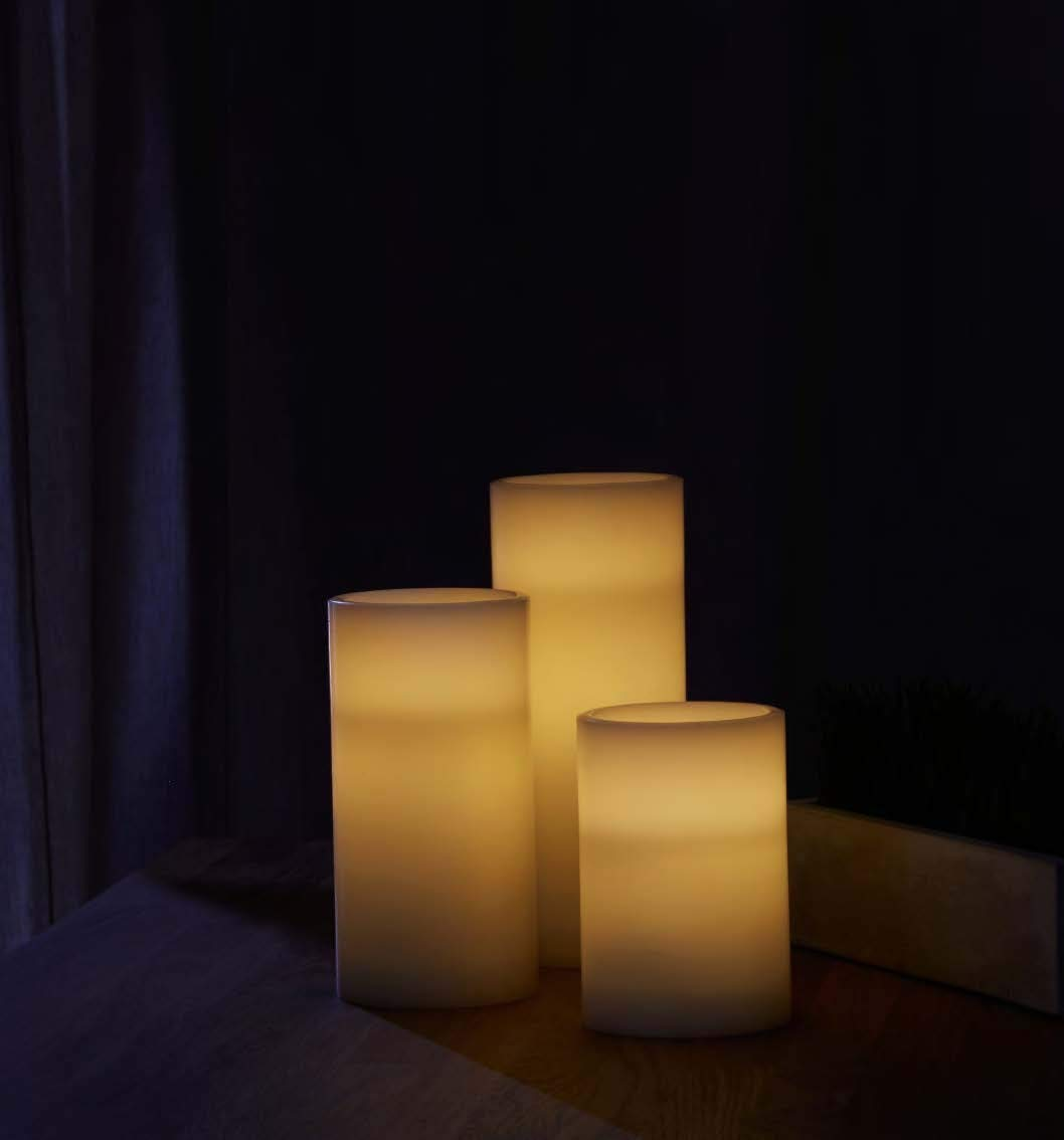 Flameless Pillar Candles with Remote Flat Top Warm White LEDs Ivory Wax Remote Set of 3 Lamplust LC003764 Batteries /& Timer Included