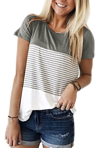 Womens Tops Short Sleeve Crewneck Stripe T-Shirt Tees Blouses Grey M