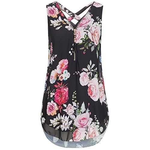 (CUCUHAM Women Loose Sleeveless Tank Top Cross Back Hem Layed Zipper V-Neck T Shirts Tops(ZZ-Black, XXL))