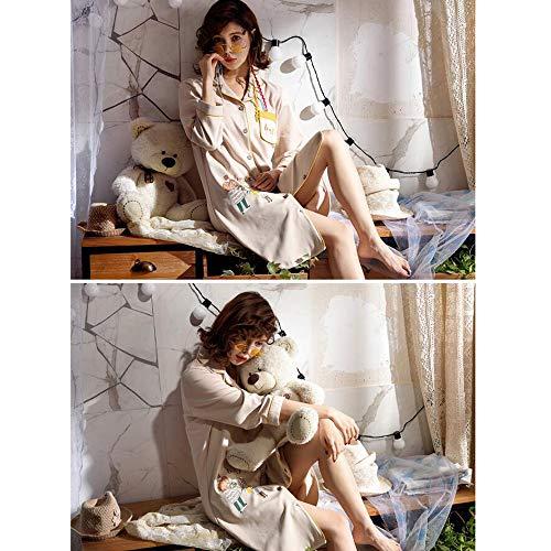Donna M Da Camicia Notte Primavera Pigiameria Da Estate Cotone Notte A Camicia Sette Pigiami Stile Manica Da Accappatoio Pigiama Dolce GZZ Quarti Ew1fxCqngW