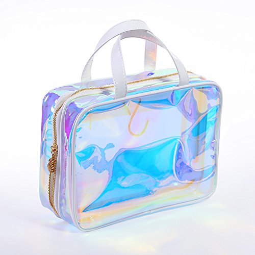(BORN PRETTY Transparent Makeup Bag colorful Clear holographicgram Cosmetic Pouch with Handle)