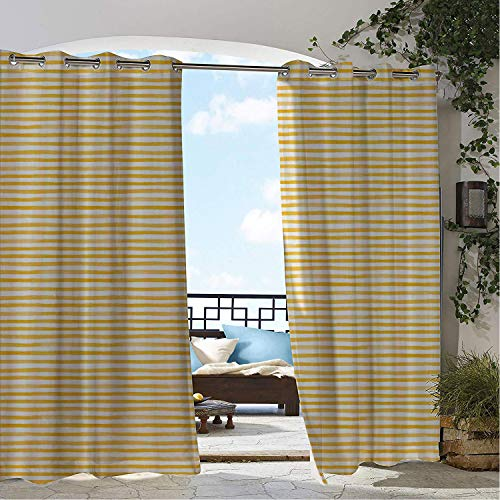 Linhomedecor Balcony Waterproof Curtains Striped Watercolor Style Uneven Stripes Pattern Yellow Shades Pastel Tone Print Mustard and White pergola Grommet Privacy Curtains 84 by 84 -