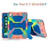 ACEGUARDER Kids Case for iPad 9.7 2018 2017 Case Full Body Protective Silicone Cover Adjustable Kickstand for Apple iPad 9.7 5th 6th Generation - iPad Air 2 - iPad Pro 9.7(Ice Blue)