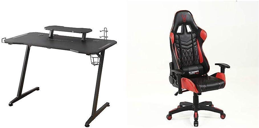 Woxter Stinger Gaming Desk Elite - Mesa Gaming de Escritorio, Leds, Organizador de Cascos, Mandos y Posa Vasos + Silla Gaming: Amazon.es: Juguetes y juegos