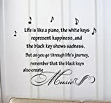 Life Is Like a Piano, the White Keys Represent Happiness, and the Black Key Shows Sadness. But As Ou Go Through Life's Jouney, Remember That the Black Keys Also Create Music. Vinyl Car Sticker Symbol Silhouette Keypad Track Pad Decal Laptop Skin Ipad Macbook Window Truck Motorcycle