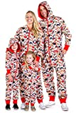 Unisex Adult Cat Christmas Jumpsuit - Funny Cat Xmas PJ's Pajamas for Christmas Morning: Medium