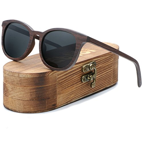 Ablibi Women Men Wood Bamboo Sunglasses Vintage Luxury Brand Designer Polarized Sun Glasses (walnut, - Luxury Brands Sunglasses