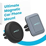 [INTRO PRICE] APPS2Car Ultimate Air Vent Magnetic Car Phone Mount Two-Pack Bundle With 1 Circular, 1 Rectangular Mount (Clip to Vents), 8 Magnetic Plates (Attach to Phone) Using GripMax Magnets