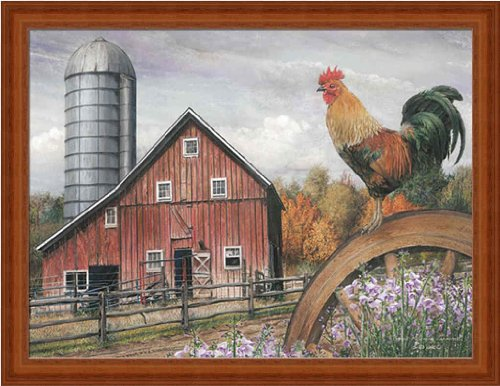 Good Morning Vermont by Ed Wargo Country Barn 17.25x13.25 Wall Art Print Framed Picture (Rooster Pictures Framed)