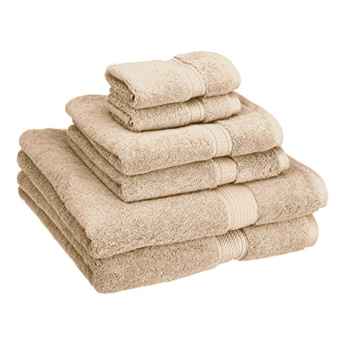 Heritage 6 Piece - Superior 900 GSM Luxury Bathroom 6-Piece Towel Set, Made of 100% Premium Long-Staple Combed Cotton, 2 Hotel & Spa Quality Washcloths, 2 Hand Towels, and 2 Bath Towels - Stone