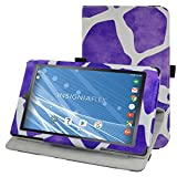 "Insignia NS-P08A7100 Rotating Case,Mama Mouth 360 Degree Rotary Stand With Cute Lovely Pattern Cover For 8"" Insignia Flex NS-P08A7100 Andriod 6.0 Tablet 2016,Giraffe Purple"