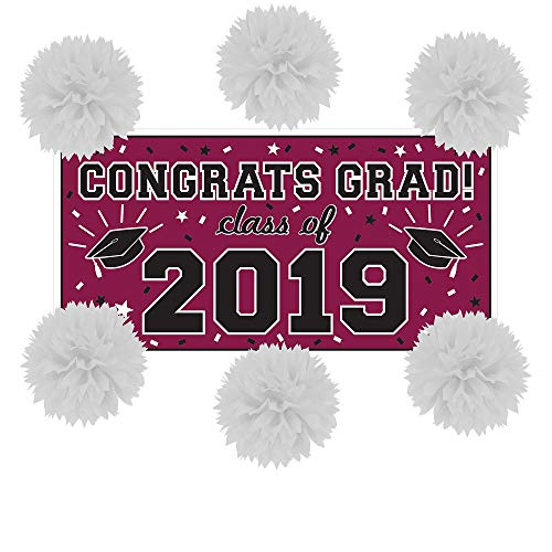 Party City Berry Congrats Grad 2019 Graduation Wall Decorating Supplies with Banner and Tissue Paper Pom Poms