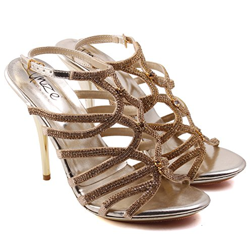 Femmes Stiletto Onaido ' Sandales Light Gold Unze De Glittery Soirée OgCx4nnq7
