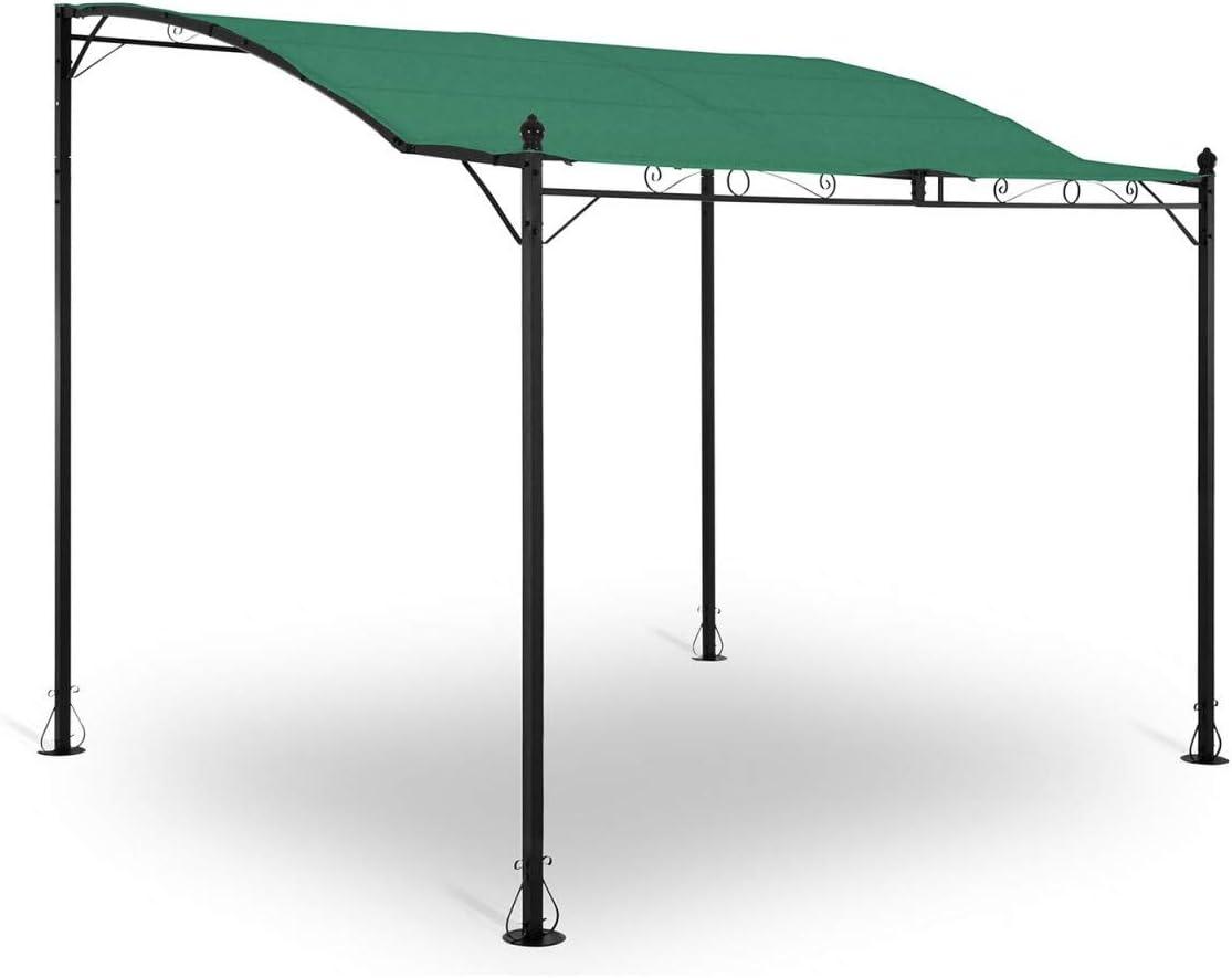 Uniprodo Pérgola De Metal Pabellón para Terraza Uni_Gazebo_ 3X2.5G (Toldo de 2, 60 x 3 m, 180 g/m², Altura Total: 2, 80 m, Verde Oscuro): Amazon.es: Jardín
