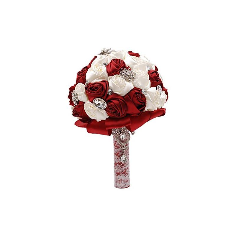 silk flower arrangements abbie home silk bridal bouquet with crystal rhinestones rose wedding holding flowers (ivory + burgundy)