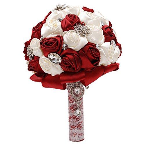 Abbie Home Silk Bridal Bouquet with Crystal Rhinestones Ivory Grey Rose Wedding Holding Flowers (Burgundy)