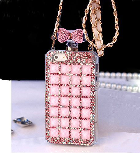 Diamond Perfume Bottle - Sasa(TM) iPhone 7 Case ,3D Handmade Luxury Elegant Bling Diamond Crystal Pink Bow Perfume Bottle Shaped Chain Handbag Case Cover for iPhone 7 (4.7inch)