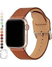 SUNFWR Pasek kompatybilny z Apple Watch, 38 mm, 40 mm, 42 mm, 44 mm, wysokiej jakości skóra, kompatybilny z iWatch Series 4, Series 3, Series 2, Series 1, męski, damski