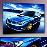 """Blue Subaru Impreza Beach Framed Ready To Hang Canvas by whatsonyourwall, Cars Wall Art Sizes from 8"""" to 40"""" 8""""x12"""""""