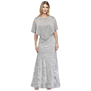 1761fd2e01bb3 Metallic Embroidered Floral Mermaid Mother of Bride/Groom Dress and Cape  Style 7120155 at Amazon Women's Clothing store:
