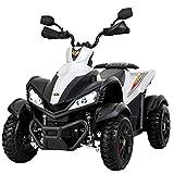Uenjoy Kids 4 Wheeler 12V ATV Electric Ride On Quad Motorized Cars, 2 Speeds,LED Lights, Music, Horn, Wheels Suspension, White