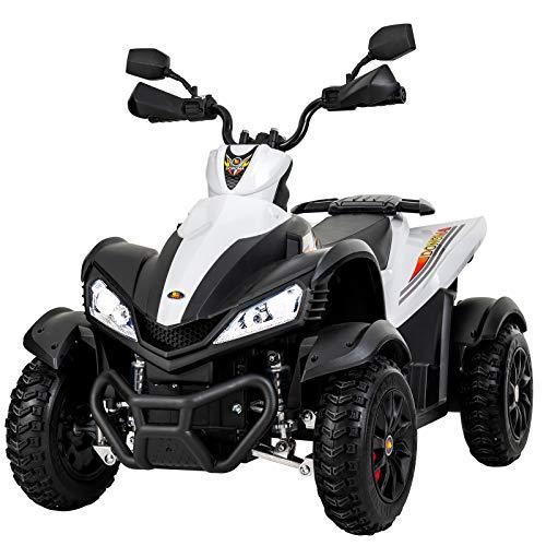 Uenjoy Kids 4 Wheeler 12V ATV Electric Ride On Quad Motorized Cars, 2 Speeds,LED Lights, Music, Horn, Wheels Suspension, - Wheeler Four Ride