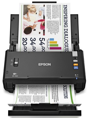 Epson WorkForce DS-560 Wireless Color Document Scanner Black WORKFORCE DS-560 SCANNER B11B2