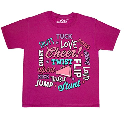 inktastic - Cheer Word Salad with Youth T-Shirt Youth Small (6-8) Cyber Pink