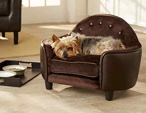 Enchanted Home Pet Ultra Plush Headboard Bed, 25.25 by 15.75 by 17.75-Inch, Pebble Brown