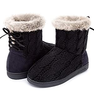 ULTRAIDEAS Women's Soft Yarn Cable Knit Bootie Slippers Memory Foam Indoor & Outdoor Shoes w/Adjustable Suede Lace,Black,9 B(M) US