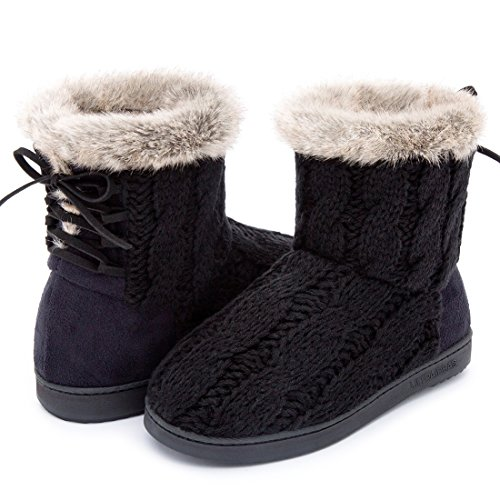 (ULTRAIDEAS Women's Soft Yarn Cable Knit Bootie Slippers Memory Foam Indoor & Outdoor Shoes w/Adjustable Suede Lace (11 B(M) US,)
