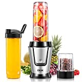 Deik Personal Blender, Single Serve Blender with Travel Lid for Smoothies and Shakes, Mixer Blender with 20oz Sport Bottle, Coffee Grinder Cup for Coffee Bean, BPA Free, 500W, Silver