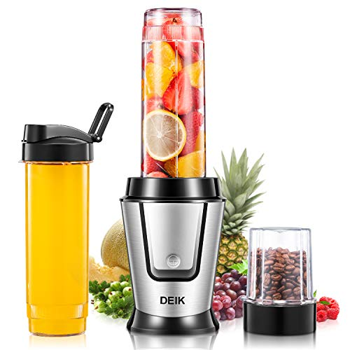 Deik Personal Blender, Smoothie Blender 500 Watt with Travel Lid for Smoothies and Shakes, Coffee Grinder Cup for Coffee Bean, Mixer Blender with 20oz Sport Bottles, BPA Free, Silver ()