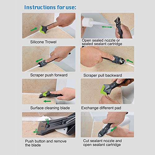 Grout Removal tool for Tile,Caulk Tools to clean Joint of Window, tile grout tools With 5 Functions, To finishing Kitchen Bathroom and Sink