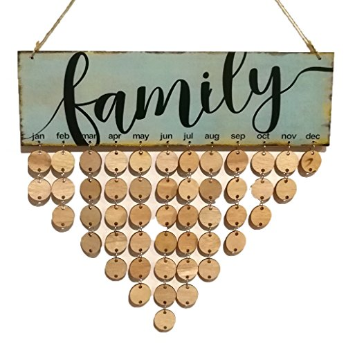 FLORMOON Family Birthday Board Wood Plaque for Anniversary Special Occasion with 50 Round Discs by Flormoon