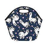 InterestPrint Insulated Lunch Tote Bag Cute Alpacas Pink Heart Reusable Neoprene Cooler, American Animal Portable Lunchbox Handbag for Women Adult Kids Girls