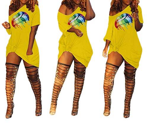 Womens T Shirt Dresses Off Shoulder - Short Sleeve Lips Print Pockets Loose Summer Sexy Tunic Dress Plus Size Yellow Medium