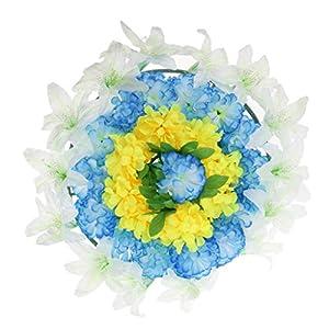 Baoblaze Artificial Silk Flower Wreath with Plastic Panels Memorial Flower Wreath Grave 60cm 5