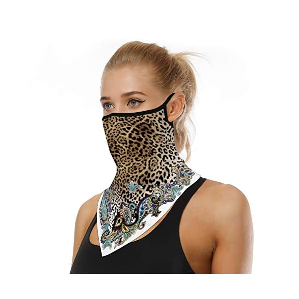 Face Cover Scarf Bandana Neck Gaiter with Ear Loops UV Sun Protection Reusable Triangle Scarf Cycle Balaclava for Women Men