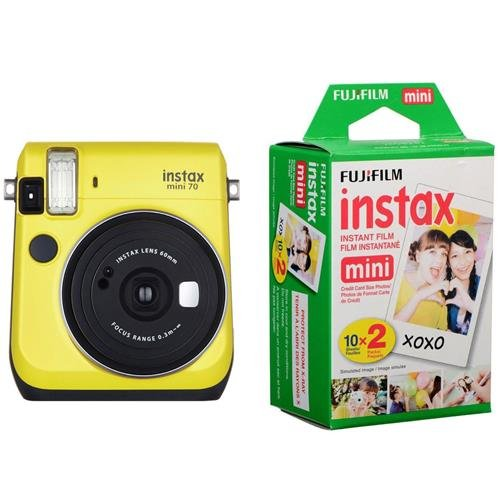 Fujifilm instax Mini 70 Instant Film Camera, Canary Yellow – Bundle Instax Mini Film Twin Pack