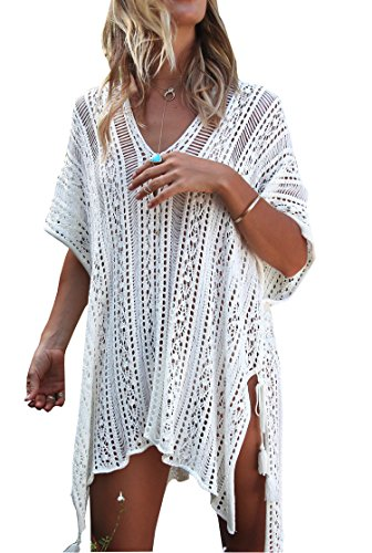 (Wander Agio Beach Swimsuit for Women Sleeve Coverups Bikini Cover Up Net Slit White)