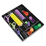 mDesign Desk Drawer Organizer Tray for Home Office to Hold Pens, Pencils, Highlighters - 10.75'' x 13.75'' x 2'' - Black